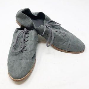 GAP New Shadow Blue Gray Faux Suede Oxfords-Size 7